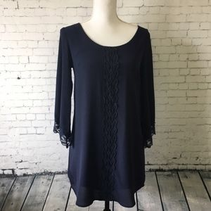 ASTR | Navy Boho Mini Shift Dress With Lace | S